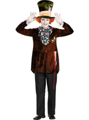 Tim Burton's Alice in Wonderland Mad Hatter Costume Teen Boys Deluxe