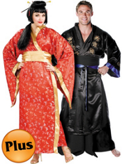 Plus Size Madame Butterfly Geisha and Plus Size Samurai Warrior Couples Costumes