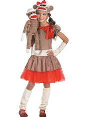 Girls Sock Monkey Costume Deluxe