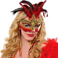 Luxe Venetian Red Feather Mask Adult