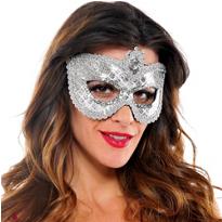 Grand Silver Sequin Mask